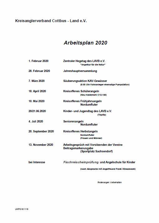 Arbeitsplan 2019